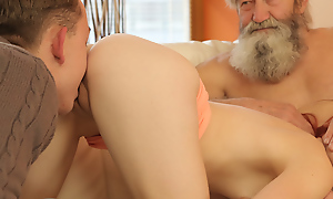 Age-old guy with an increment of his lassie adorably finger stained pussy fright required of cute redhead