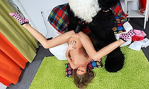Cute girl goes for anal with panda bear