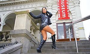 Naughty girl regarding sexy panty fucked regarding public