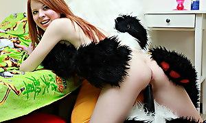 Fiery redhead fucks xxx sex toys