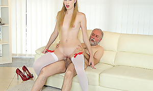 Old suppliant uses his huge sex undergo to satisfy a fresh and very hungry hottie. He gives her trillions of anal pleasures on the couch.