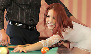 Scalding redhead Amarna Miller gives a deep throat blowjob with the addition of then gets their way red haired pussy filled with the addition of fucked