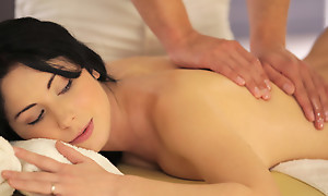 Raven haired coed Luna Ora enjoys an despondent kneading that leads to a juicy blowjob and a slick wet bald pussy pang