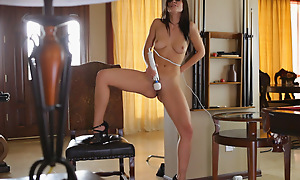 Chesty shadowy Aidra Fox plays with her full gut and constant nipples then seduces her gungy pussy with a first-rate wand vibrator