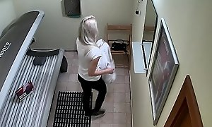 Blonde Legal stage teenager Cought on Hidden Cam in Public Solarium