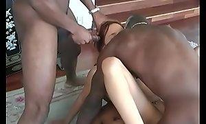 Undersized Teen Saphire Interracial Anal Gangbang