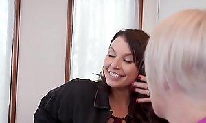 Milf licks teen while bf banging her
