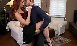 Lovely and lusty Charlie Red dances with her date before heading to slay rub elbows with bedroom to enjoy a bald pussy stiffie ride