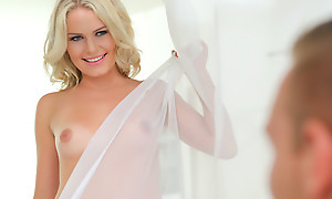 Depressing blonde Claudia Macc does a hot dance then climbs aboard for a lusty 69 and a stiffie tool along about her bald pussy