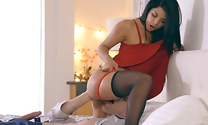 Latina tot Gina Valentina puts on a miniskirt dress and lingerie to seduce her guy into anal play and a hardcore romp