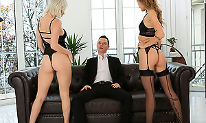 Lingerie loving babes Azazai and Tiffany Tatum work gather up to coax their sweetheart into a pussy pleasing threesome