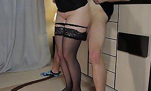 This chab jizz in my panties - Teen Step Wet-nurse thighjob in stockings