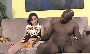 Cheerleader teen interracial blowjob and footjob
