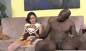 Cheerleader teen interracial blowjob and footjob