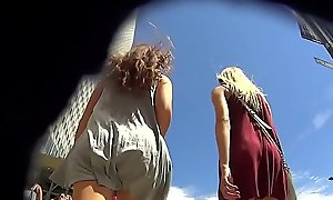 Upskirt - 2 teen girls in flying skirts both pantyless
