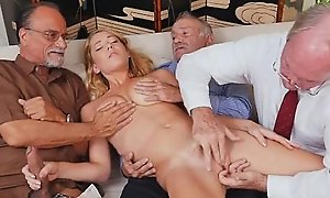 Blonde Teen Raylin Ann Taking On Three Old The rabble On request