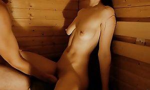 Sauna Sex at hand Hot Teen Stepsister
