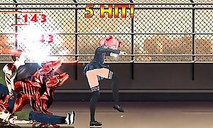 Fighting Girl Sakura R: Teen Schoolgirl Tapped by Coombies 2