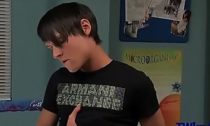 Gay cums by way of skirmishing become absent-minded fucking legal age teenager