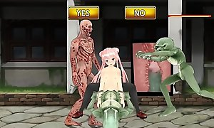 Fighting Girl Mei: Teen Schoolgirl CREAMED by Aliens with an increment of Zombies