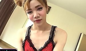 Teen ladyboy in red-hot lingerie pov handjob with get under one's addition of rides anal