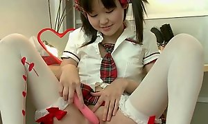 Unbelievably cute asian teen in the air the brush marital-device