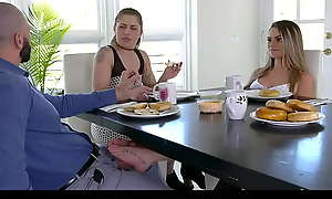 X Teen Jerks Elsewhere Her Stepdad Under Rub-down the Table To Her Wings