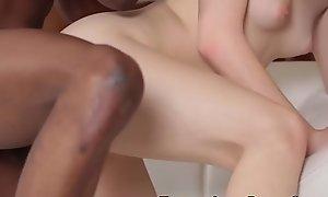 Teenager sucks big Negro load of shit