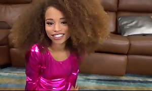 Tiny Young Black Teen Gymnast Stepdaughter Cecilia Hot stuff Fucked By White Stepdad POV