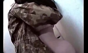 Russian Teen With Heavy Boobs Fucked back Toilet by a Military Defy