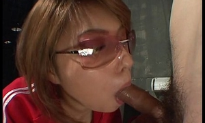 Asian bitch on touching a red track suit sucking a coxcomb