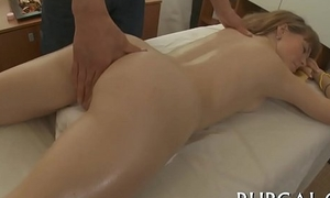Teenie sucks 10-pounder during massage