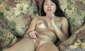 Dim coed Jaylynn stuffs a toy in her hot Asian twat