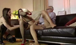 Young brunette slut in stockings does ass to mouth with older British dude