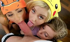 Nasty bisexual teen pokemons fucked their new master