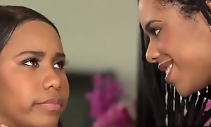 Ebony girlfriend wants more explosion sporadically minor extent chew of gloomy teen bff