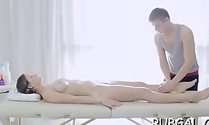 Teenie enriches rub-down session with a oral-stimulation provocation session