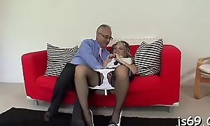 Cute babe encircling stockings gives him a oral-stimulation of a seniority