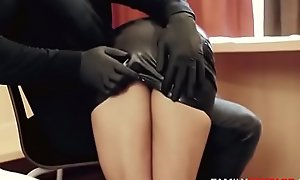 Oiled Up Step-Daughter Gets Massaged By Daddy Up Latex Gloves