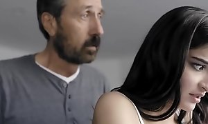 Spanked with the addition of Banged! Dad spanks his whore daughter Emily Willis!