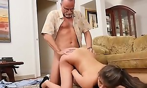Girl licks old cadger and fucks him not roundabout duddy'_ partner'_s daughter roguish