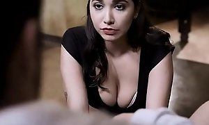 Cute brunette stepdaughter has serious papa issues