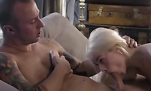 Tiny stepdaughter blows onwards being banged